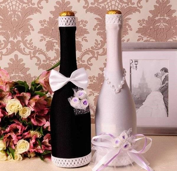 Бокалы и бутылки на свадьбу фото