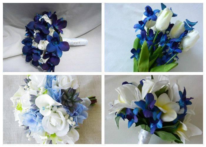 Букет невесты бело синий фото