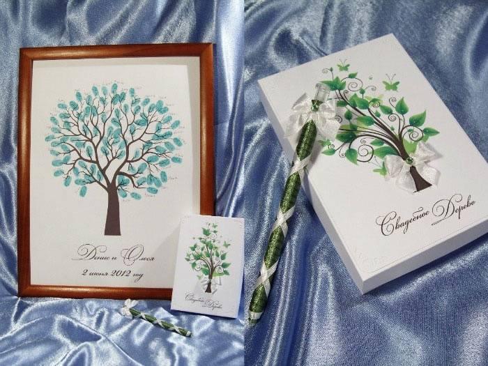 Бумажное дерево свадебных поздравлений новобрачным