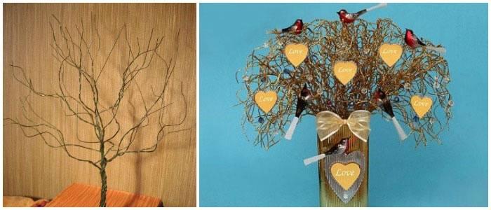 Примеры деревьев пожеланий для свадьбы из проволоки