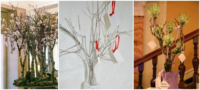Свадебное деревце из живых веток для напутственных слов гостей