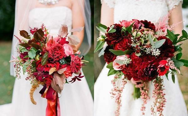 Свадебный букет с красными цветами