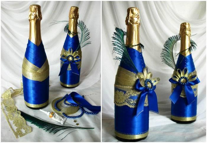Декор свадебных бутылок