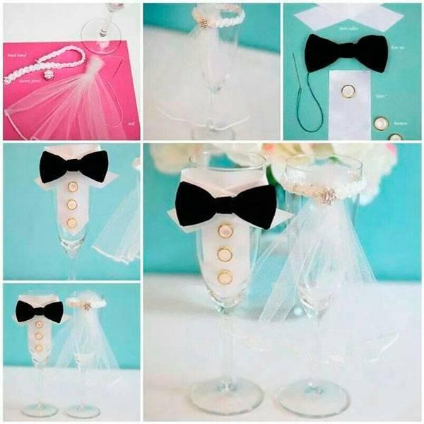 Украшение свадебных бокалов лентами