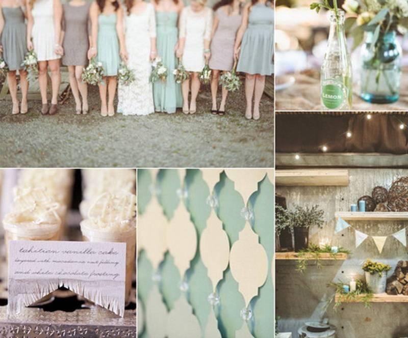 Мятное платье на свадьбу