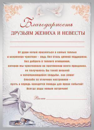 Обращение невесты к родителям жениха